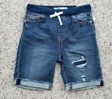 NWT Boys Blue Denim Karate Pull-On Distressed Cutoff Jean Shorts Sz 8 or 10-12