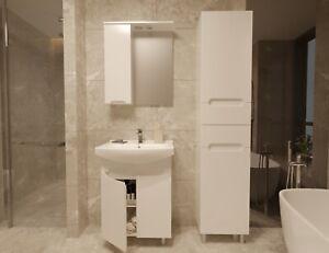 Elean Badmöbel Waschbecken mit Unterschrank Waschtisch ANSI Weiß Hochglanz Neu