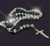 Women White Clear Rosary Crystal Beads Silver Drop Cross Necklace For Women Lady