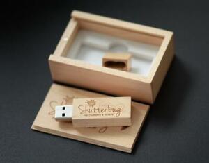Custom Personalized photography logo wood Strip USB flash memory stick pen drive