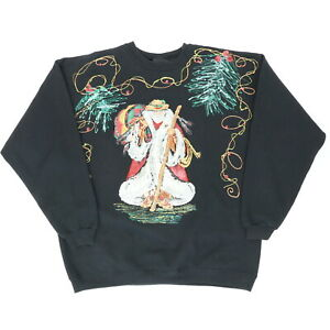 "VTG 90s Santa Cowboy Adult XL 51"" Hand Painted Ugly Christmas Sweatshirt Black"