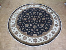 10 X 10'2 Round Hand Knotted Black Persian Tabriz With Silk Oriental Rug G6107