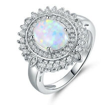 Awesome Sunflower style White Fire Opal Cz Platinum Plated Ring Size 6 7 8 9 10
