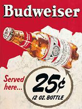 Budweiser, Retro Vintage Letrero de Metal de Aluminio Botella De Cerveza Bebida cobertizo Cueva de hombre