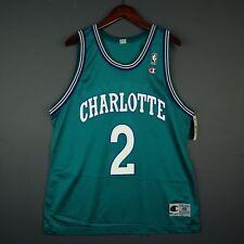 100% Authentic Larry Johnson Hornets Vintage Champion Jersey Size Mens 48 L XL