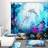 Deep Ocean Dolphin Shower Curtain Set Toilet Cover Mat Bathroom Waterproof