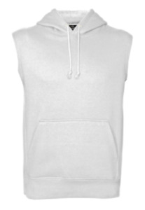 Men's Sleeveless Pullover Hooded Sweatshirt Solid Cotton Vest Hoodie Pockets