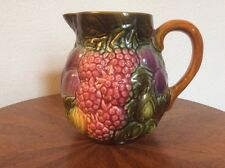 Fruit Pitcher Vintage French Majolica Pitcher Raspberries, Plums, Fruit