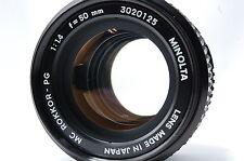 Minolta MC ROKKOR-PG 50mm F1.4 Lens SN3020125  **Excellent++**