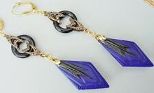 ART DECO 1920'S 1930'S  BLUE GLASS &  BLACK GEOMETRIC GEMSTONE  EARRINGS