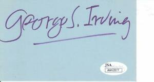 GEORGE S. IRVING d. 2016 Signed 3x5 Index Card Actor/Me and My Girl JSA AA42877