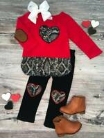 Girls, Toddler Boutique Valentine's Day Outfit, Snakeskin Heart 2T 3T 4T 5 6 7 8
