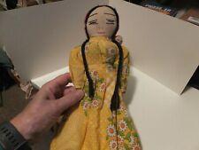 New ListingVintage Ethnic Mexican Spanish Mama Doll cloth braids & baby floral dress 1 shoe