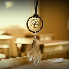 Handmade Dreamcatcher Net With Brown Feathers Flocking Key Ring Home Decor Gift