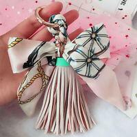 Women Metal Key Tassel Leather Bag Chain Keychain Pendant Ring Car Handbag Charm