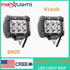 "2 X Light Bar 4"" LED 18W Spot Motorcycle Work ATV Off-Road Fog Driving Cree UTV"