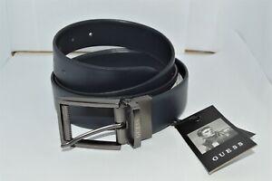 Brand new GUESS men's LOGO Leather Adjustable Reversible Belt (size L) Navy Blue