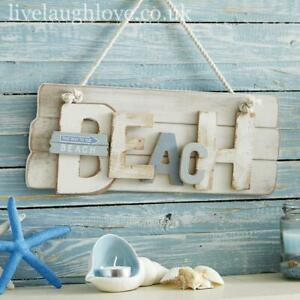 Distressed Wooden Beach Plaque Wall Hanging