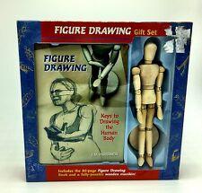 Figure Drawing Book Human Body + Wood Figure Manikin Mannequin Gift Set Art NEW