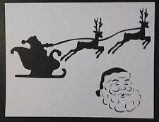 """Santa Claus Sleigh Reindeer Christmas 11"""" x 8.5"""" Stencil FAST FREE SHIPPING"""