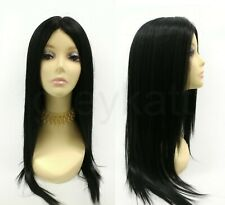 """Heat Resistant Long Straight Layered Wig Black Lace Middle Part Goth Witch 23"""""""