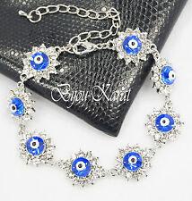 Nazar Evil Eye Silber Strass Armband Türkisches Magisches Auge Böser Blick