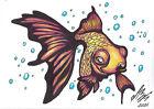 original drawing A5 146LV samovar Art Marker gold fish Signed 2021