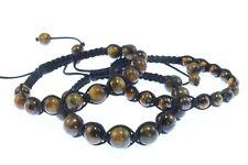Shamballa bracelet, set of 3,Gemstone Tigers Eye10mm/8mm/6mm Beads