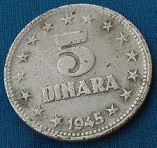 5 Dinara 1945. Yugoslavia original Zinc coins, JУГОСЛАВИJА, partisans coin !