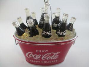 Coca-Cola Kurt Adler Coke Bottles Oval Bucket Pail Holiday Christmas Ornament