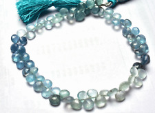 NATURAL MULTI-COLOR FACETED MOSS AQUAMARINE HEART SHAPE BEADS 6 TO 7 MM 9""