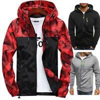 Mens CAMO Hoodie Windproof Fleece Zip Up Jacket Sweatshirt Hooded Casual Coat