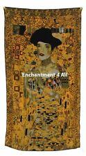 "Oblong Handmade 100% Silk Scarf Wrap Handrolled, Klimt's ""Portrait Of Adele I"""