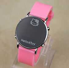 Women Girl Kid Pink Hello Kitty Face Silicone Wrist band LED Watch Gift for her