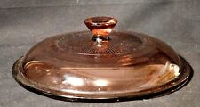 """Pyrex Corning Vision Ware Cranberry Covered Pot Lid 7 1/4"""" Diameter w 3 Lips"""