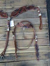 HEADSTALL BREAST COLLAR FLORAL TOOLED PAINTED SHOW HORSE LEATHER WESTERN BRIDLE