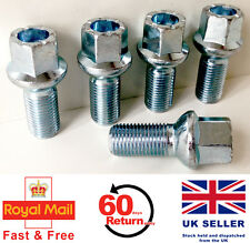 Audi A4 S4 RS4 alloy wheel bolts. M14 x 1.5, radius, 17mm Hex set of 5