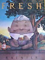 Vintage 1980 Rainier Beer Art Print Poster Fresh Leprechaun Humpty Dumpty Egg
