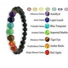 7 Chakra Bracelet Crystal Stone Lava Healing Balance Beads Reiki Anxiety