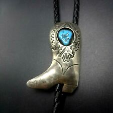 Vintage NAVAJO Hand-Stamped Sterling Silver TURQUOISE BOLO Tie COWBOY BOOT