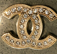 Chanel Button Vtg CC Logo Gold Rhinestone Large 30mm Flat Button