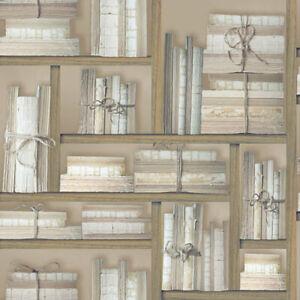 G56154 - Nostalgie Naturale Libri Marrone Galerie Carta da Parati