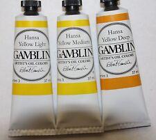 Gamblin Oil Paint-Set of 3 HANSA YELLOWS -37ml-Series 3-all Transparent