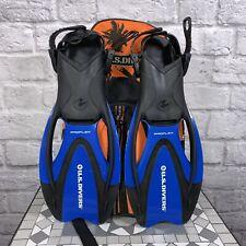 Us Divers Orange Gear Travel Bag with Set of Flippers Storage Scuba Snorkel L Xl