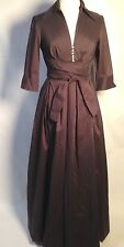 Donna Ricco Brown taffeta Gown with plunge neckline -size 8