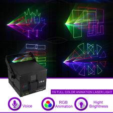 1W DMX ILDA RGB Animation Laser Projector DJ Party Profession Stage Lighting