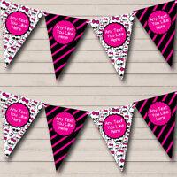 Party Banner Bunting Skulls & Stripes Monster Pink Children's Birthday