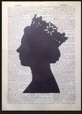 Queen Elizabeth Head British Print Vintage Dictionary Page Wall Art Picture