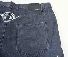 Tapout Rare Tap Out Jeans Mens Black Skull Wings Loose Fit 40x32 Embroidered