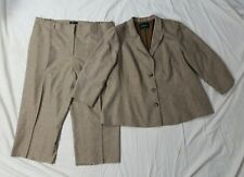 Lafayette 148 NY Brown Tan Buttoned Business Pant Suit Long Blazer Plus Size 22W
